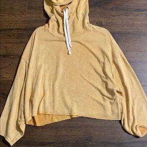 Vintage Havana  mustard cropped relaxed hoodie